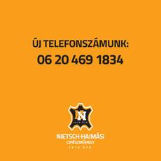 Cipészműhelyünk új telefonszáma