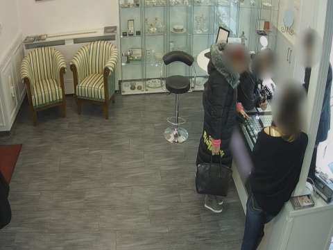A tolvajpár a XIII. kerületi ékszerboltban (forrás: police.hu)